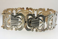 VTG MEXICO TN-C6 MEX 925 6-CUT OUT PANEL BRACELET SLIDE IN LOCKING CLASP 58.9g