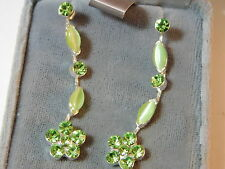Pastel Green Moonglow Peridot Rhinestone Flower Long Dangle Silver Earring 3f 24