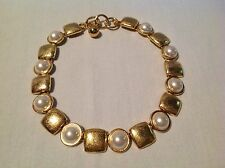 "Anne Klein Faux Pearl & Gold Tone Heavy Chunky Toggle Necklace 16"" - 18"""