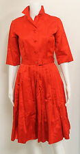 VNTG. 1960S  HONG KONG DYNASTY LABEL SILK FLORAL PRINTED TONE-ON-TONE RED DRESS