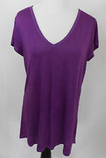 American Eagle Outfitters  XL X Large Purple Blouse V Neck Short Sleeves Shirt