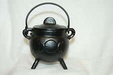 "Cauldron Pentagram 3"" Cast Iron with Lid & Handle, Wicca, Pagan Witch Shop"