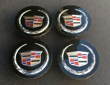 NEW SET OF 4 CADILLAC CADI BLACK CENTER WHEELS HUB CAPS LOGO