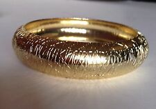 "NEW Olivia Collection WIDE Gold Tone Etched Bangle Bracelet wide 0,75 "" or 2CM"