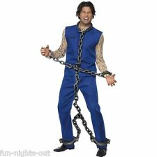 Men's Convict Chain Shackles Silver Full Body Prisoner Jail Fancy Dress Stag Fun
