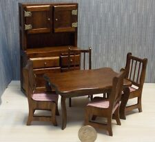 Dollhouse Miniature Dining Table & Chairs Walnut Hutch 1:12  one inch scale   G2