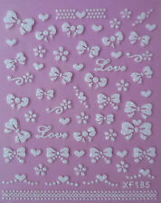 White Glitter Bows Love Flowers 3D Nail Art Stickers UV Acrylic Tips Decoration