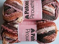 Patons Pirouette ruffle mesh yarn, Sienna Sparkle, lot of 2 (20 yds each)