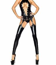 Faux Latex Catsuit with Leggings Attached held up by Suspenders Chains