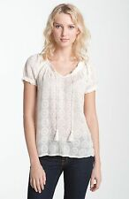 122953 New $89 Lucky Brand Lily Lace Embroidered Beige Sheer Blouse Top S