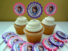 30 Sofia the first personalized cupcake toppers birthday party favors decoration