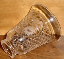 """LAMP SHADE w/ 3 SINGLE ETCHED FLOWER & RECESSED DESIGN 5-1/8""""x 2"""" CRYSTAL GLASS"""