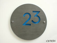 Modern House Numbers, Round Concrete with Blue Acrylic