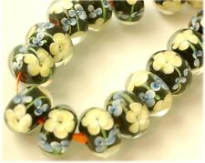 Encased Lampwork Glass Rondell Floral Beads (20)