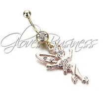 Gold Plated Angel Surgical Body Piercing Jewelry Navel Belly Button Bar Ring