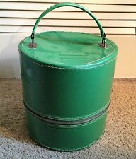 Vintage  Wig Train Travel Case Green Vinyl Hat Box Luggage W/foam Head