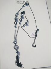 "LIA SOPHIA BLACK TONE CUT CRYSTAL 27""-30"" NECKLACE NWT"