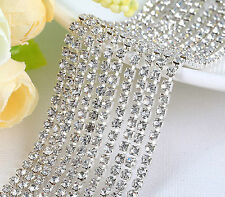 Crystal Rhinestone Cup Close Chain Necklace Trim Craft Silver 1row  1yd