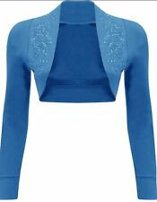WOMENS LADIES LONG SLEEVE SHRUG TOP LADIES GLITTER BEADED BOLERO CARDIGAN 8-14