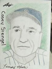 Casey Stengel NY Yankees 2012 Leaf 1/1 Hand Drawn Color Sketch Card Tempy Moore