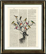 Antique Book page Art Print - Deer with Birds Upcycled Dictionary Wall Art