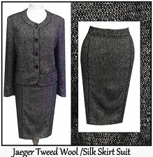31 JAEGER 12 14 GREY 40's 50'S STYLE TWEED WOOL PENCIL SKIRT SUIT BOUCLE LADIES