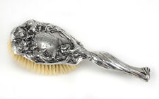 Unger Bros. Art Nouveau Sterling Silver Vanity Hair Brush, Repousse figure