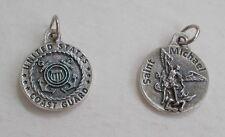 """US Coast Guard St Saint Michael Medal w 18"""" rubber necklace NEW 0.75"""""""