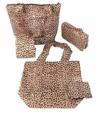 Sachi Reusable Grocery Bags Shop Pack Go Market Totes- 5 Piece Set- Tan Leopard