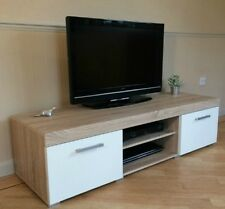 Large Oak TV Unit Wooden Storage Cabinet Stand White Sideboard Entertainment