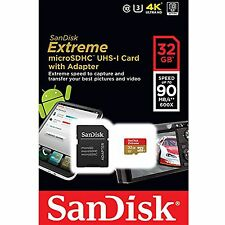 SanDisk Extreme 32GB 90MB/s U3 UHS-I 600X Class 10 Micro SDHC SD 4K Memory Card*