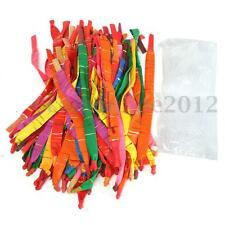 100X Assorted Colors Long Rocket Balloons +Plastic Tube Party Toy Kids Child
