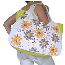 BEACH BAG Large Yellow,Orange Grey Flowers Floral,White,Huge,Hand Red Big Tote