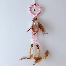 NEW SMALL BABY PINK HEART SHAPE FEATHER DREAM CATCHER NATIVE AMERICAN MOBILE
