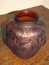 "R LALIQUE ""DOMREMY"" Amber/Deep Red Glass Vase Signed No. 979 Rene France"