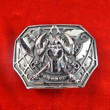 Fine COOL OGRM Medical Stainless Steel Samurai Helmet Pattern Men Belt Buckles