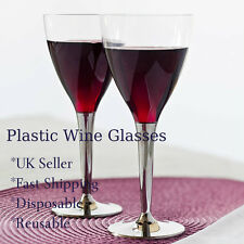 100 Disposable Clear Plastic Wine Glasses Silver Stem Garden Event Wedding Party