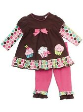 Rare Editions Girls Brown Fuchsia Cupcake Dress Leggings Outfit Set 3T New