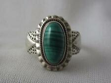 SIGNED DP 925 STERLING STAMPED RING W/ OVAL MALACHITE CABOCHON - SIZE 9.75