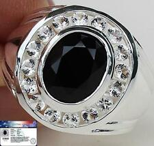 MEN's RING Natural 7.50 Cts Black SPINEL & WhiteTOPAZ 925 Sterling Silver S10