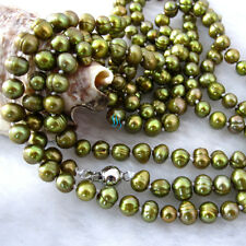 """50"""" 5-7mm Olive Freshwater Pearl Necklace Strand Jewelry"""