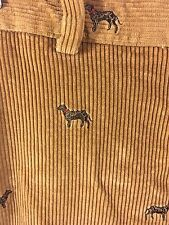 BROOKS BROTHERS CORDUROYS Pants Embroidered Dog Print Trousers 32x30 Tan