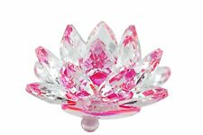 "Stunning 3.5"" Clear & Pink Hue Reflect Crystal Lotus Home Decor Gift USA Seller"