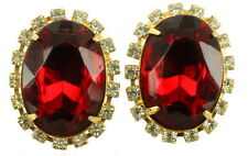 VINTAGE BIG CHUNKY OVAL FACETED RED GLASS & CLEAR RHINESTONE CLIP BACK EARRINGS