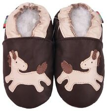 shoeszoo soft sole leather baby shoes pony brown 18-24m S