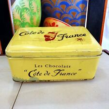 Vintage Art Deco 1940s - 50s Cote de france chocolatier Chocolate Box Tin French