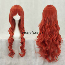 80cm long wavy curly cosplay wig in muted red, UK seller, Jeri style