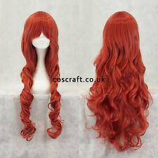 80cm longue ondulés bouclé cosplay perruque dans des rouges, vendeur britannique, jeri style
