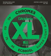 D'Addario Bass Strings Chromes Flatwounds ECB80SL Super Light 40-95 SLS