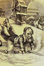 Thomas Nast 1877 - DON HEWITT Don Quixote - Destroy Post Office - Print Matted